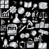 Icônes argentées d'éducation Photos libres de droits