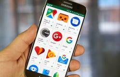 icônes arious d'application de Google sur le jeu de Google images libres de droits