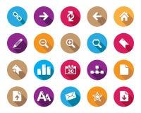 Icônes arrondies colorées de Web et de bureau de vecteur courant avec l'ombre dans la haute résolution Photographie stock