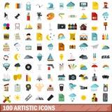 100 icônes artistiques réglées, style plat illustration stock
