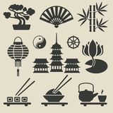 Icônes asiatiques réglées Photos stock