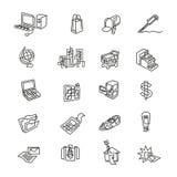 Icônes audacieuses d'affaires et d'industrie illustration de vecteur