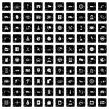100 icônes automatiques de centre de service ont placé, style grunge illustration de vecteur