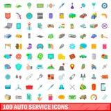100 icônes automatiques de service réglées, style de bande dessinée illustration libre de droits