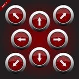 Icônes avec des flèches - huit directions Images libres de droits