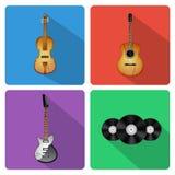 Icônes avec des instruments de musique Photo stock