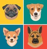 Icônes avec des portraits des chiens Images libres de droits
