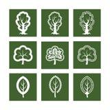 Icônes avec l'arbre illustration stock