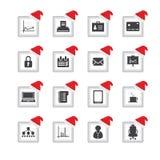 icônes avec la conception de Noël Photographie stock