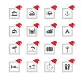 icônes avec la conception de Noël Photographie stock libre de droits