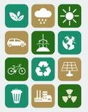 Icônes avec le concept d'écologie Photographie stock
