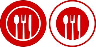 Icônes avec le plat, fourchette, cuillère, couteau Photos stock