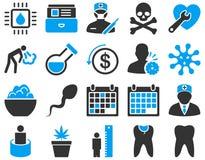 Icônes bicolores médicales Image stock