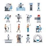 Icônes bioniques avec l'équipement chirurgical et diagnostique illustration libre de droits