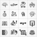 Icônes blanches de noir d'intelligence artificielle réglées