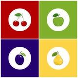 Icônes blanches rondes de fruit sur le fond coloré Image stock