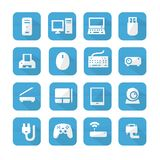 Icônes bleues de dispositif d'ordinateurs Photos stock