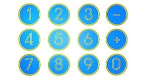 Icônes bleues de nombre Photo stock