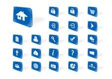 Icônes bleues de Web Images libres de droits