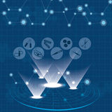 Icônes bleues de Web médical abstrait réglées illustration de vecteur
