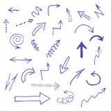 Icônes bleues tirées par la main de flèches réglées sur le blanc Image libre de droits