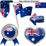 Icônes brillantes avec le drapeau de l'Australie Photo stock