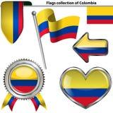 Icônes brillantes avec le drapeau de la Colombie Photos libres de droits