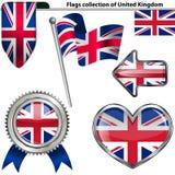 Icônes brillantes avec le drapeau du Royaume-Uni Image libre de droits