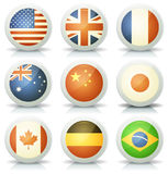 Icônes brillantes de drapeaux réglées Images libres de droits