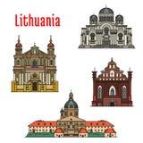 Icônes célèbres d'architecture de la Lithuanie illustration stock