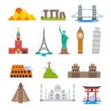 Icônes célèbres de points de repère de vecteur de voyage du monde d'architecture Photos libres de droits