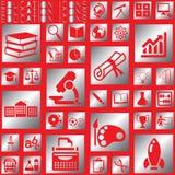 Icônes carrées argentées d'éducation Image libre de droits