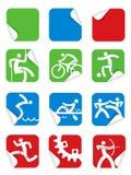 Icônes carrées de sport d'autocollant illustration stock