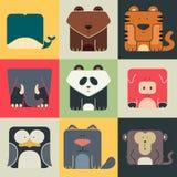 Icônes carrées plates réglées d'animaux mignons Photographie stock libre de droits