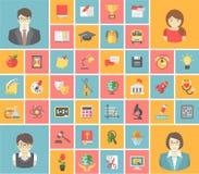 Icônes carrées plates d'école Photos libres de droits