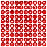 100 icônes centrales d'enfant réglées rouges illustration stock