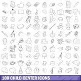 100 icônes centrales d'enfant réglées, style d'ensemble illustration libre de droits
