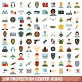 100 icônes centrales de protection réglées, style plat illustration de vecteur