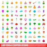 100 icônes centrales de yoga réglées, style de bande dessinée illustration stock