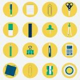 Icônes circulaires colorées des fournitures de bureau Images libres de droits