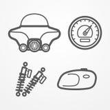 Icônes classiques de moto illustration libre de droits