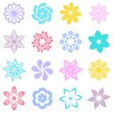 Icônes colorées abstraites de fleur Photos stock