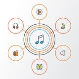 Icônes colorées audio d'ensemble réglées Collection d'ensemble, de bruit, de jeu et d'autres éléments Inclut également des symbol Images libres de droits