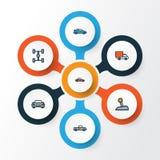 Icônes colorées automatiques d'ensemble réglées Collection d'automobile Photo libre de droits