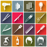 Icônes colorées carrées d'équipement de coiffure Photographie stock libre de droits