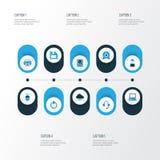 Icônes colorées d'ordinateur réglées Photos libres de droits