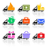 Icônes colorées de camion de livraison Photos stock