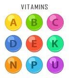 Icônes colorées de capcule de pilules de vitamines d'isolement sur le fond blanc Capsule de pilules de baisse de vitamines de rét Image stock