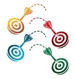 Icônes colorées de dards sur le fond blanc icônes d'isolement de cible EPS8 Photo libre de droits