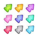Icônes colorées de flèche de vecteur réglées Photographie stock libre de droits